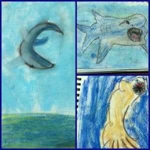 sharks, Shark Week, art, shark unit study, shark art, Shark Week in Your Homeschool