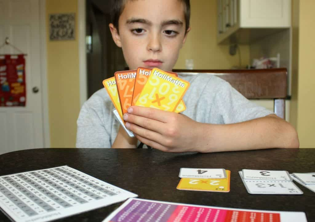 HoliMaths Multiplication card game elementary age students homeschool