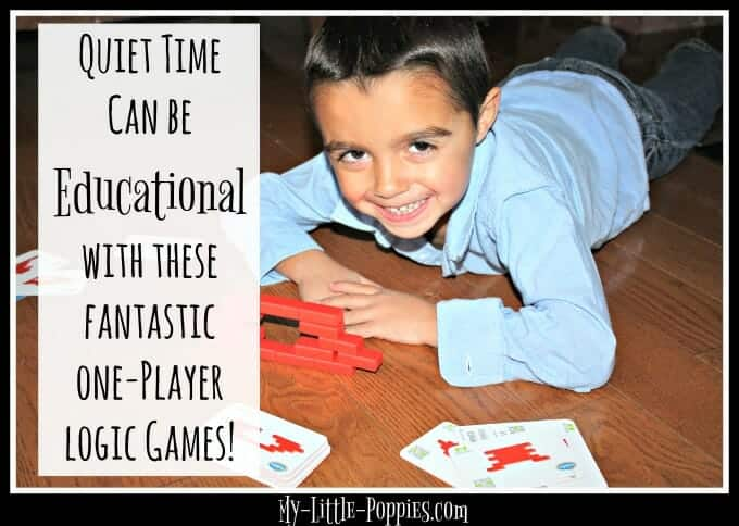 Make quiet time educational with these fantastic one-player logic and reasoning and problem-solving games from ThinkFun, homeschool, homeschooling, educational activities, parenting, Brick by Brick, Shape by Shape, Sweet Logic, Safari Rush Hour Improve Quiet Time with Educational Logic Games | My Little Poppies