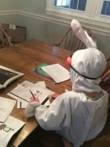 You want to do math and creative writing in a bunny suit, complete with safety googles? Sure thing!