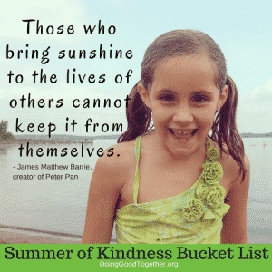 Summer of Kindness Bucket List quote image from DoingGoodTogether.org