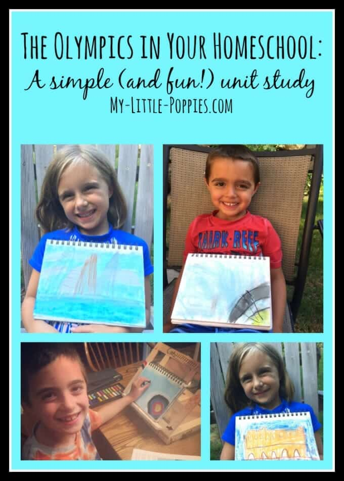 The Olympics in Your Homeschool A Simple (and fun!) mini-unit study, homeschool, homeschooling, homeschooler, chalk pastel, hodgepodge, Olympic Games, summer games, art study