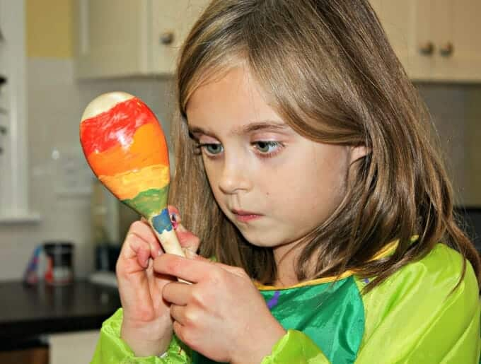 Making maracas as part of our Zin! Zin! Zin! A Violin! kit homeschool subscriptions