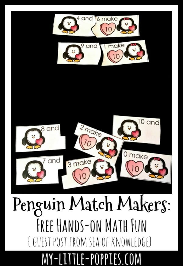 Penguin Match Makers: Free Hands-on Math Fun {Guest Post from Sea of Knowledge} | My Little Poppies