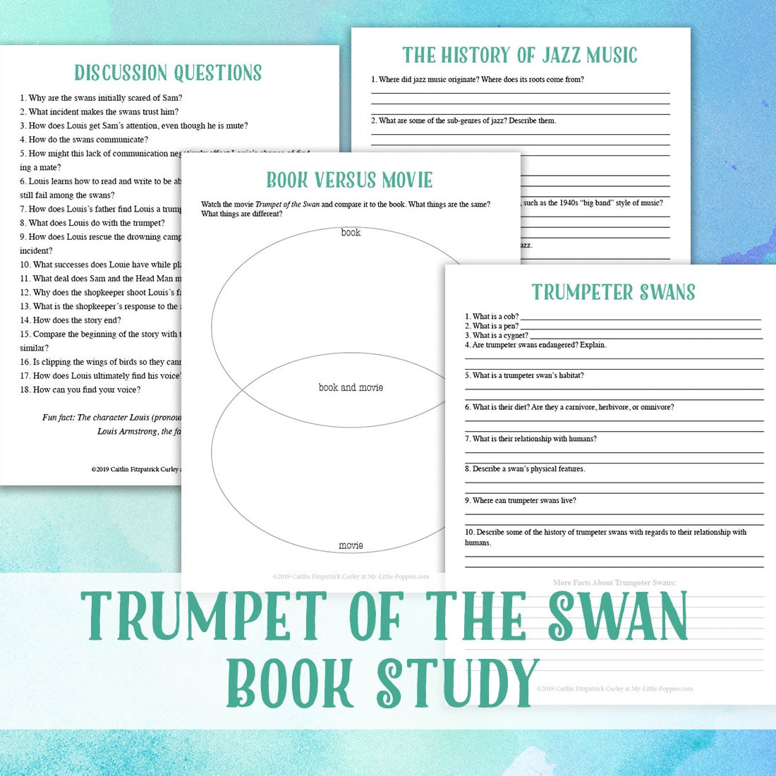 Trumpet of the Swan by E.B. White Study {Lazy Unit Study Inspiration Pack} | My Little Poppies