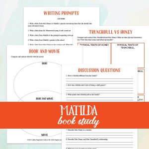 Matilda Book & Film Study {Lazy Unit Study Inspiration Pack} | My Little Poppies In this Lazy Unit Study Inspiration Pack, your family will read Roald Dahl's book,Matilda. Together, you will discuss the book, chat about its characters, and compare and contrast two main characters. Then, wrap up your study with a family movie night and compare and contrast the book and the film! This pack includes writing prompts to take your learning to the next level.