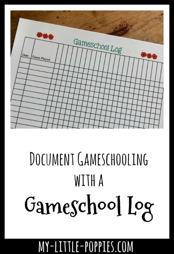 How to Document Your Gameschooling with this Gameschool Log | My Little Poppies