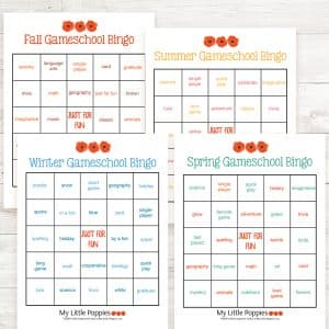 Gameschool Bingo Seasonal Set: Play your way through the four seasons with our Gameschool Bingo Seasonal Set (4-piece set, one card per season).| My Little Poppies