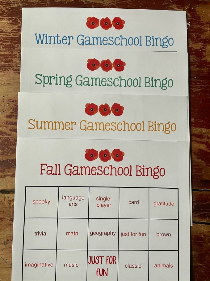 Gameschool Bingo Seasonal Pack (4 Bingo Cards, One Per Season) | My Little Poppies