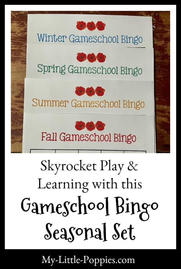 How to Skyrocket Play and Learning with this Gameschool Bingo Seasonal Set | My Little Poppies